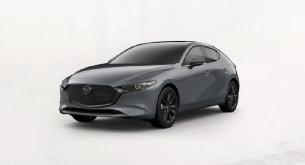 Polymetal Gray Metallic 2020 Mazda3 Hatchback on White Background