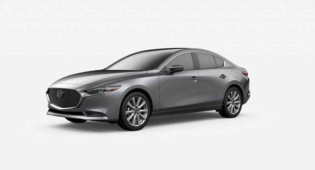 Machine Gray Metallic 2020 Mazda3 Sedan on White Background