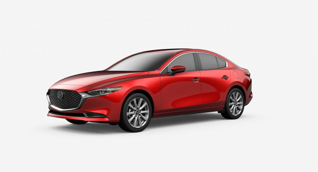 Soul Red Crystal Metallic 2020 Mazda3 Sedan on White Background