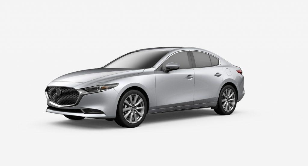 Sonic Silver Metallic 2020 Mazda3 Sedan on White Background