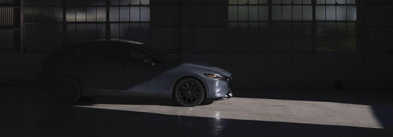 Gray 2021 Mazda3 2.5 Turbo in a Dark Garage
