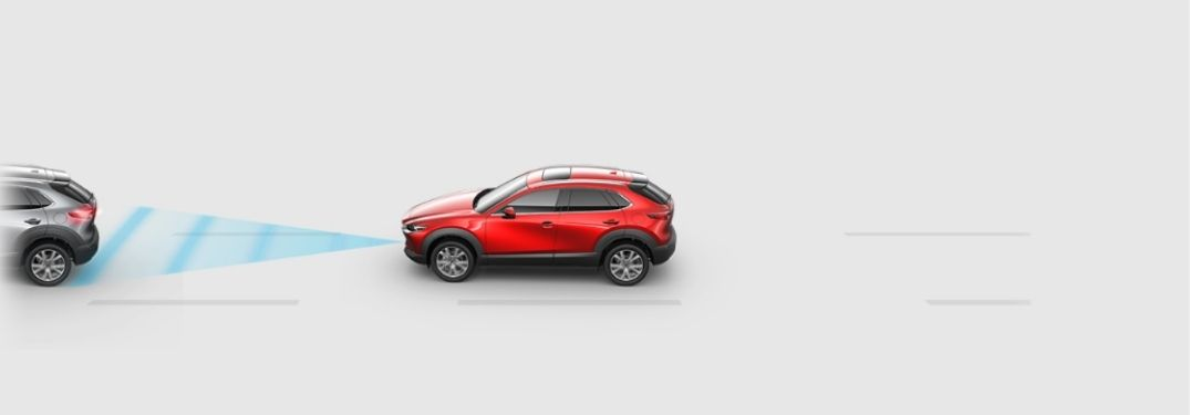 Graphic of Red Mazda CX-5 Using Mazda Radar Cruise Control with Stop and Go