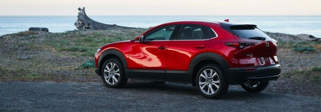 Red 2021 Mazda CX-30 Rear Exterior on the Coast