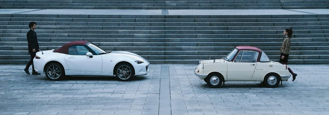 White 2020 Mazda MX-5 Miata 100th Anniversary Edition with Red Roof and 1920 Mazda R360 Coupe with Red Roof