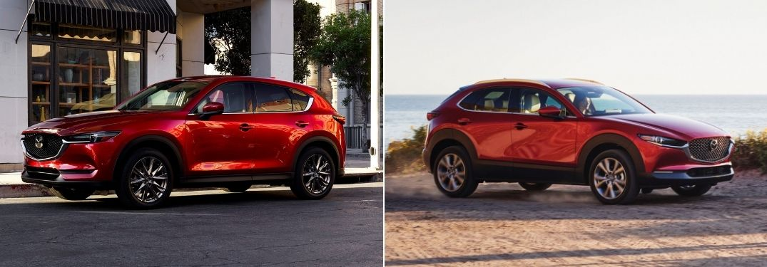 Red 2021 Mazda CX-5 Front Exterior on a City Street vs 2021 Mazda CX-30 Front Exterior on a Beach