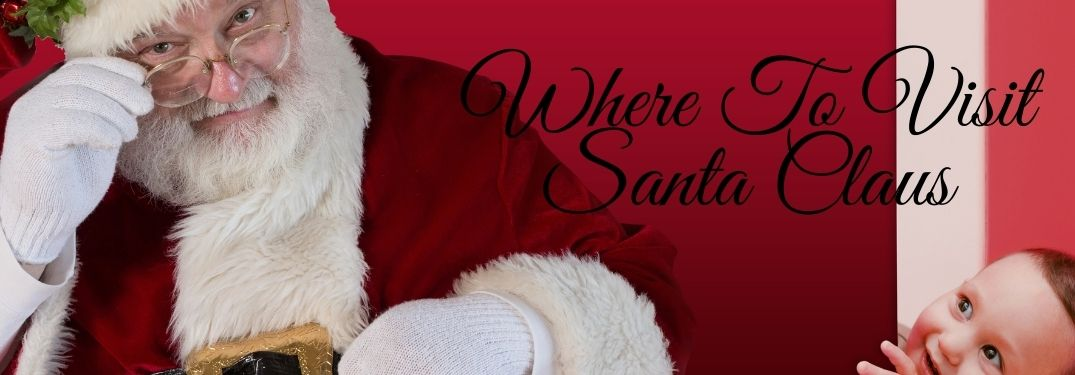 Santa Claus on a Red Background with a Kid Peeking and Black Where To Visit Santa Claus Text