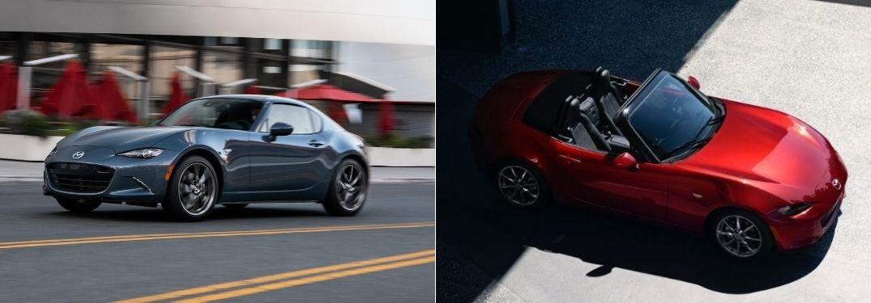 Blue 2021 Mazda MX-5 Miata RF on City Street vs Overhead View of Red 2020 Mazda MX-5 Miata Soft Top