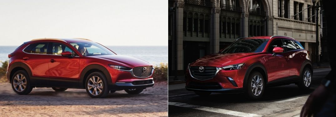 Red 2021 Mazda CX-30 on the Beach vs Red 2021 Mazda CX-3 on a City Street