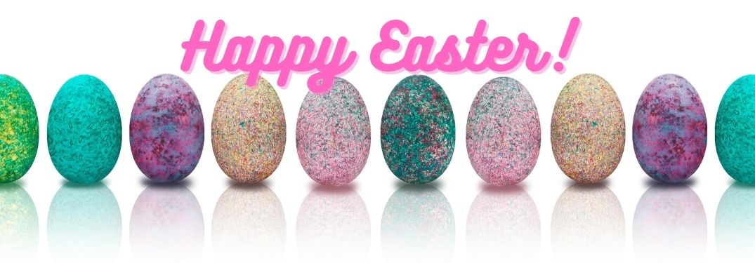 Line of Colorful Easter Eggs with Pink Happy Easter Text