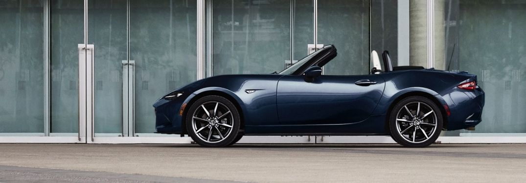 Blue 2021 Mazda MX-5 Miata Side Exterior with the Top Down