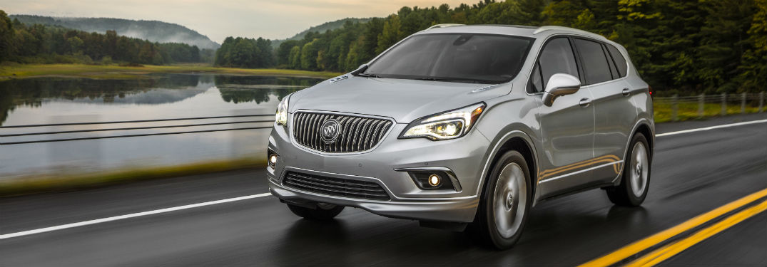 Driver side exterior view of a gray 2018 Buick Envision