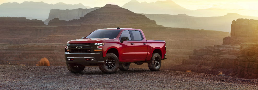 Driver's side exterior view of a red 2019 Chevrolet Silverado