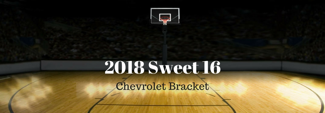 2018 Sweet 16 Chevrolet Bracket, text on an image of a basketball hoop and court