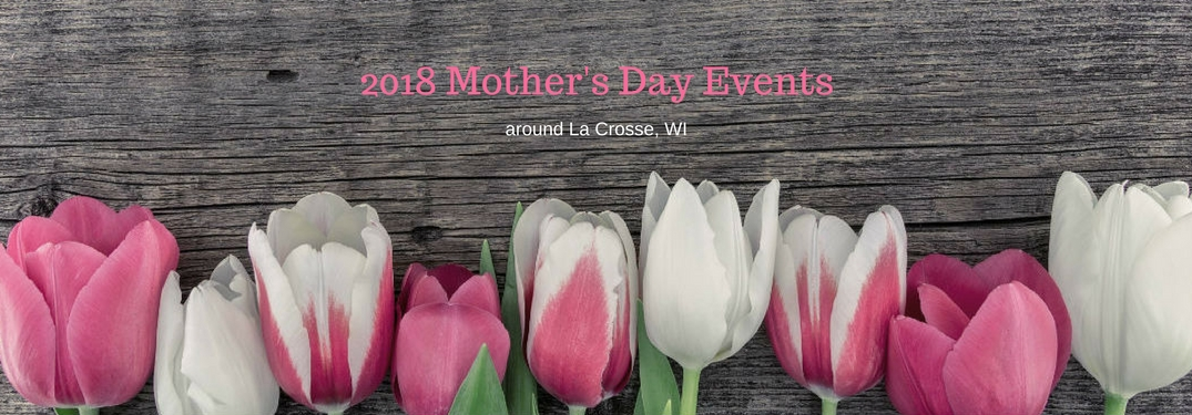 2018 Mother's Day Events around La Crosse, WI , text on an image of pink and white roses lined up on a wooden table