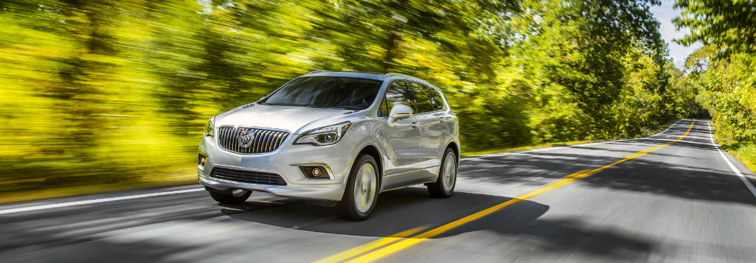 Front exterior view of a gray 2018 Buick Envision