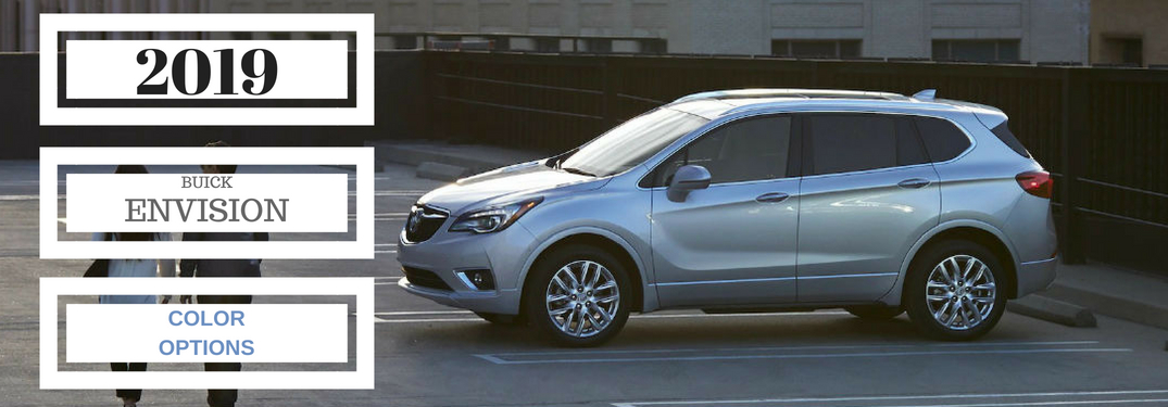 2019 Buick Envision Color Options, text on a driver side exterior image of a 2019 Buick Envision