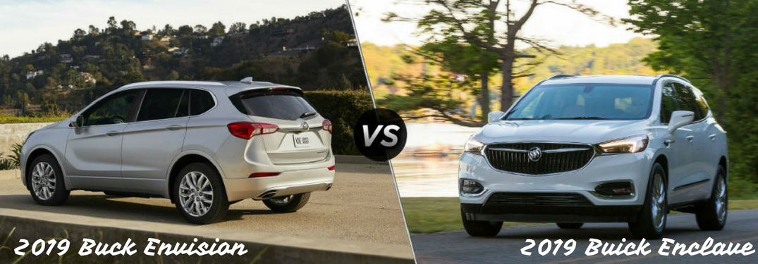 "2019 Buick Envision ""vs"" 2019 Buick Enclave, text on a split image of a white 2019 Buick Envision on the left and a white 2019 Buick Enclave on the right"