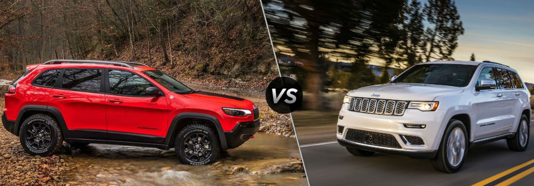 "Passenger side exterior view of a red 2019 Jeep Cherokee on the left ""vs"" front driver side exterior view of a white 2019 Jeep Grand Cherokee on the right"