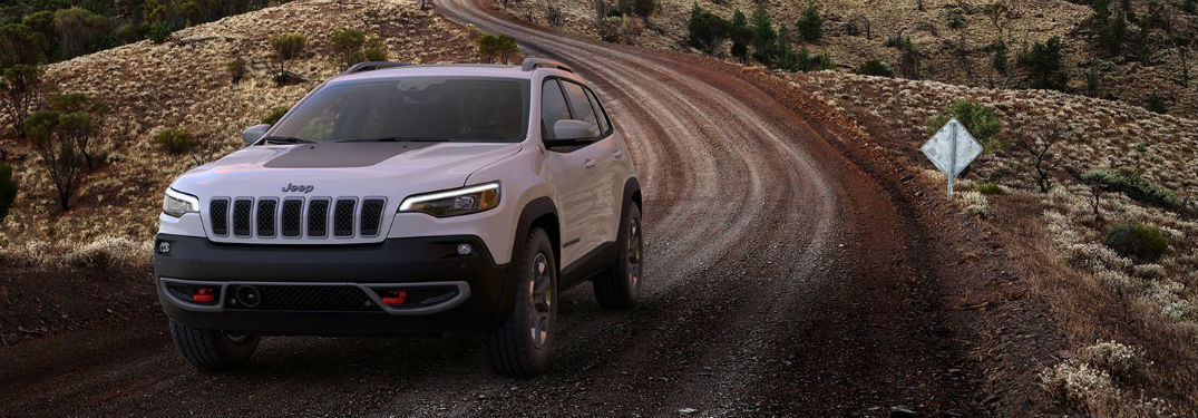 Front exterior view of a white 2019 Jeep Cherokee