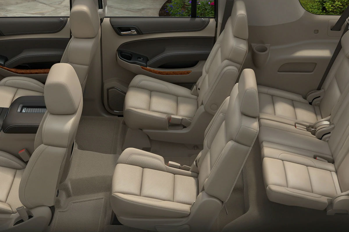 Overhead view of the three rows of interior seating inside the 2019 Chevy Suburban