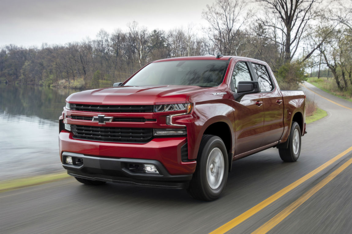 Front exterior view of a red 2019 Chevy SIlverado 1500