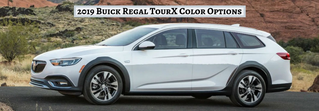2019 Buick Regal TourX Color Options, text above an image of a driver side exterior view of a white 2019 Buick Regal TourX