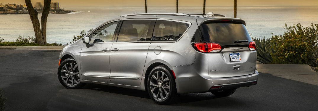 Driver side exterior view of a gray 2019 Chrysler Pacifica