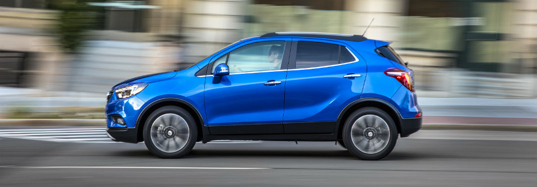 Driver side exterior view of a blue 2019 Buick Encore