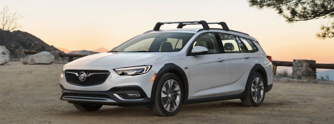 2019 Buick Regal TourX in front of a sunrise
