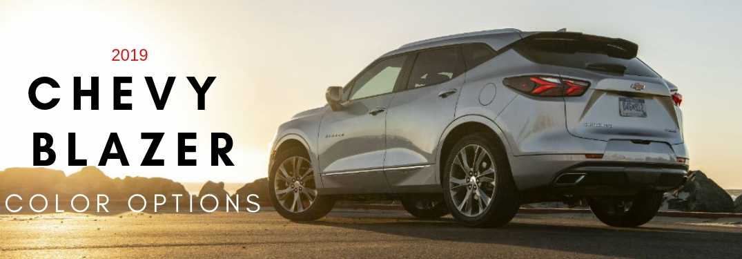 2019 Chevy Blazer Color Options, text on a driver side exterior image of a gray 2019 Chevy Blazer