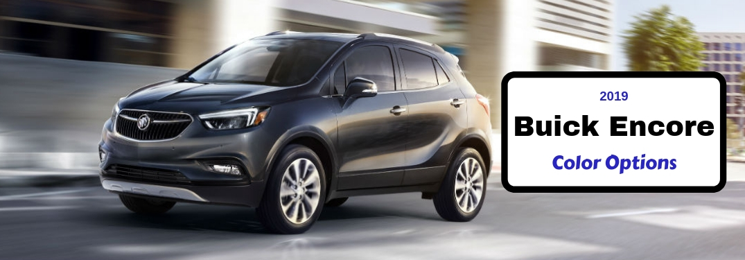 2019 Buick Encore Color Options, text next to driver side exterior image of a black 2019 Buick Encore