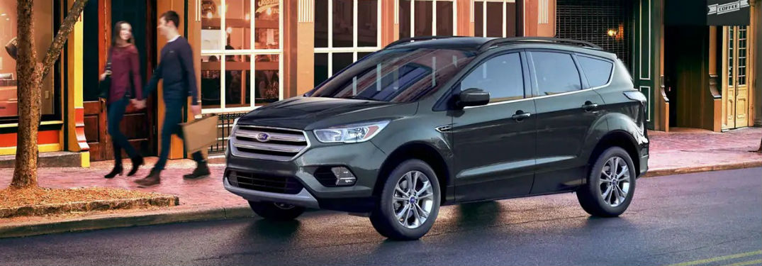 Front driver side exterior view of a gray 2019 Ford Escape