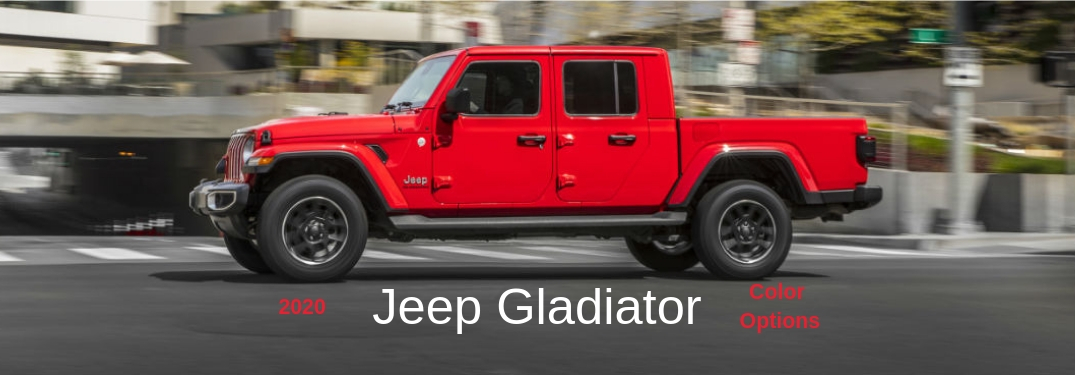 2020 Jeep Gladiator Colors, text below an image of a red 2020 Jeep Gladiator