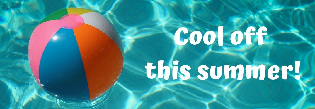 picture of a beach ball in a swimming pool with cool off this summer text