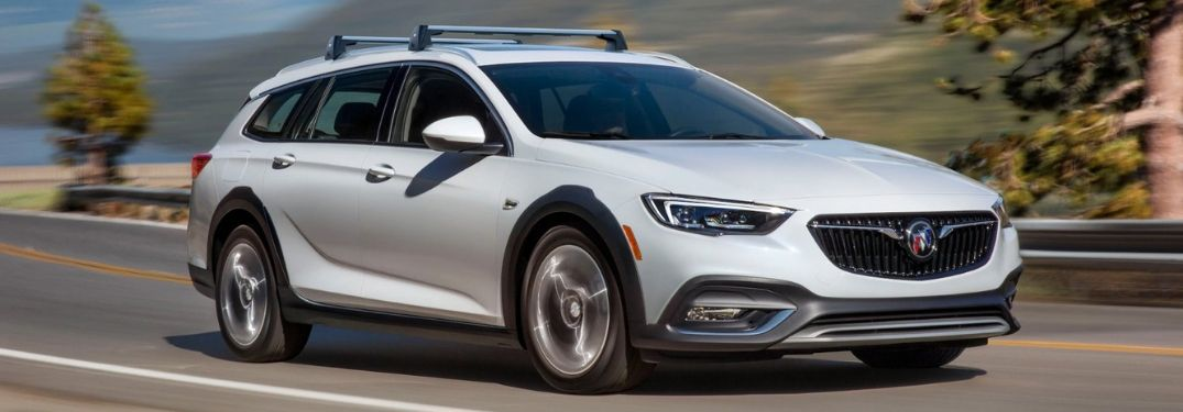 front view of 2019 Buick Regal TourX driving on highway