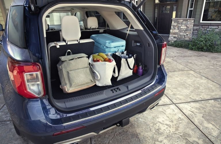cargo in the back of the 2020 Ford Explorer