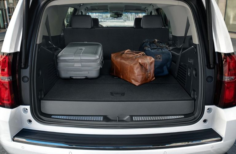 cargo in the back of the 2020 Chevy Suburban