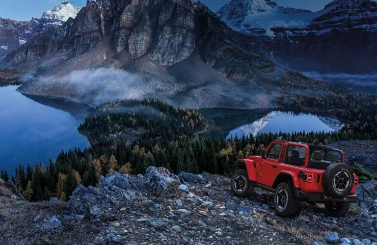 2020 Jeep Wrangler Rubicon on the mountaintops in the evening