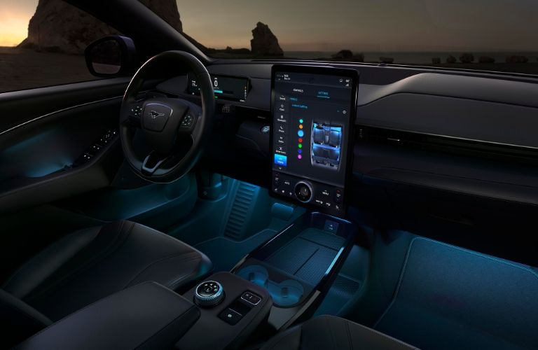 2021 Ford Mustang Mach-E interior steering wheel and dashboard