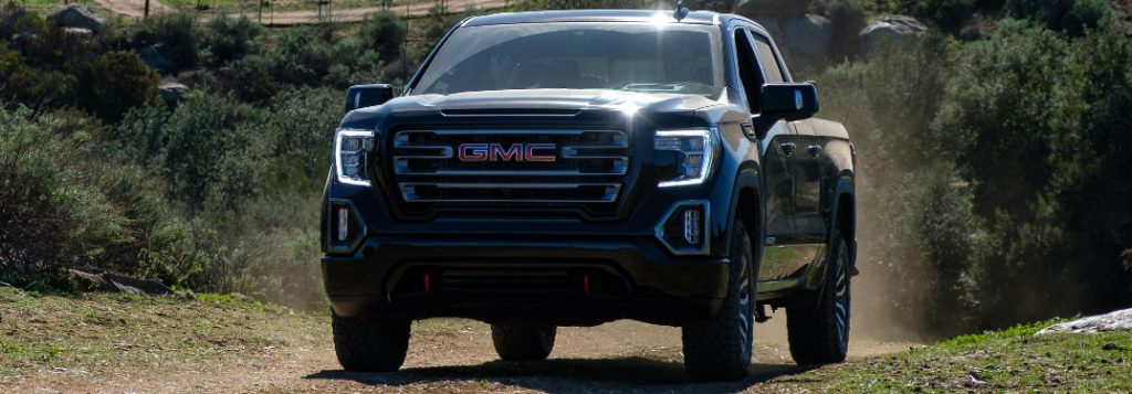 Front view of black 2019 GMC Sierra 1500 AT4