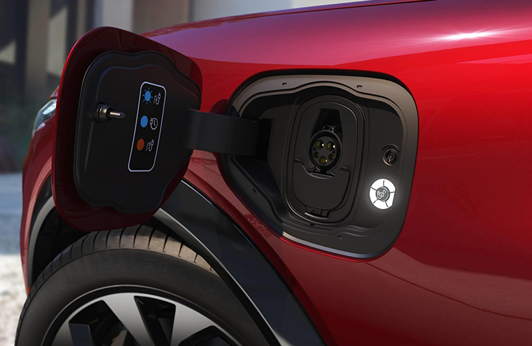 Charging outlet on red 2021 Ford Mustang Mach-E