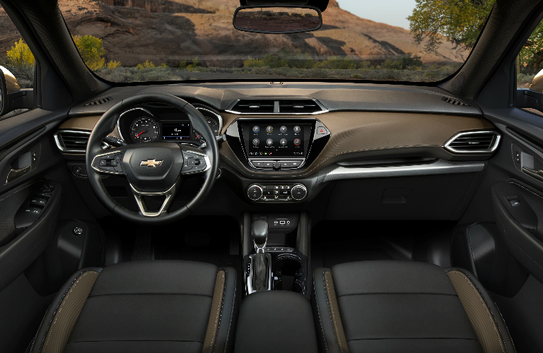 Brown and grey dashboard and front seats in 2021 Chevrolet Trailblazer