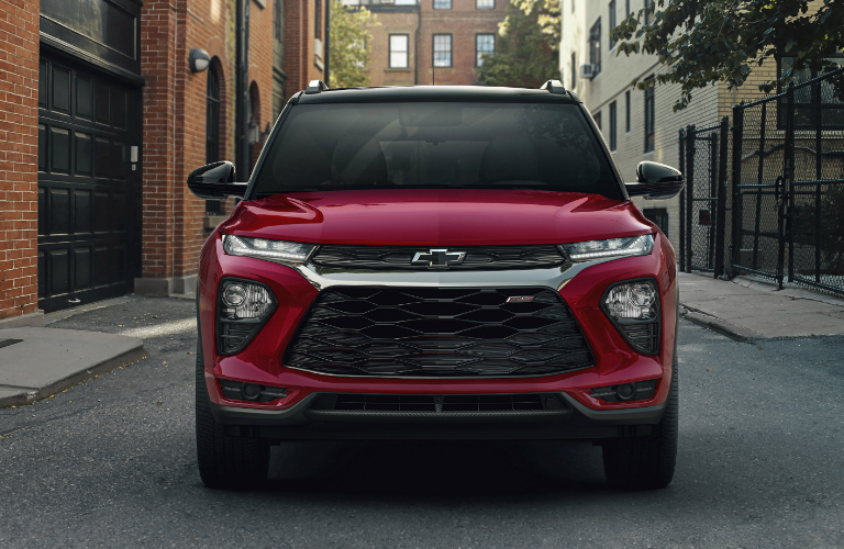 Front view of red 2021 Chevrolet Trailblazer