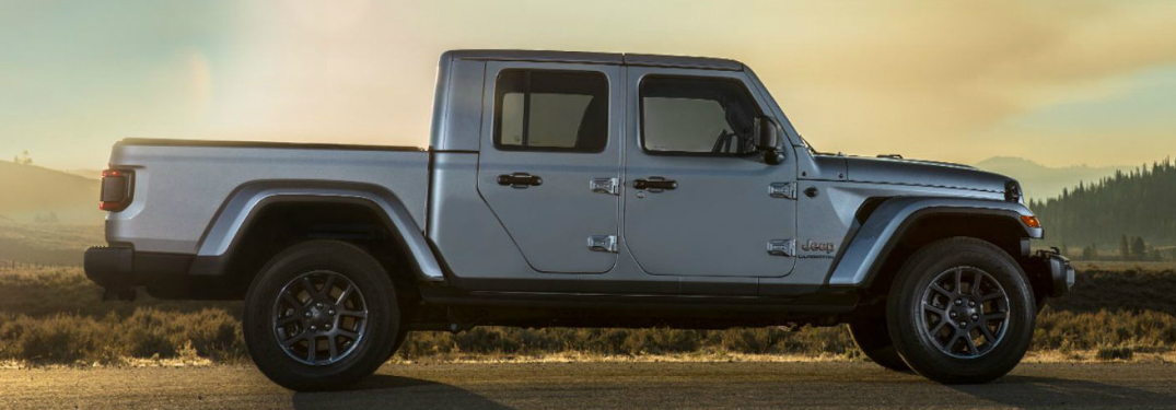 Side view of silver 2020 Jeep Gladiator