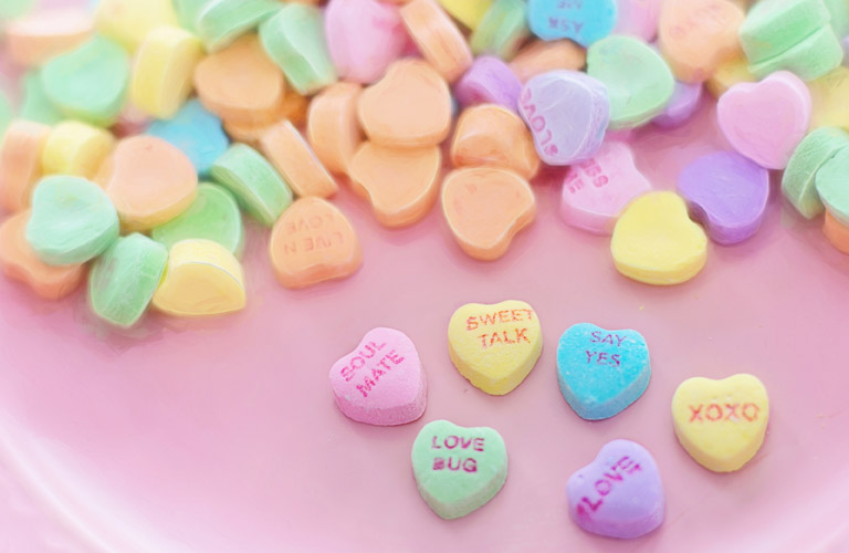 A pile of Valentine's Day heart candies
