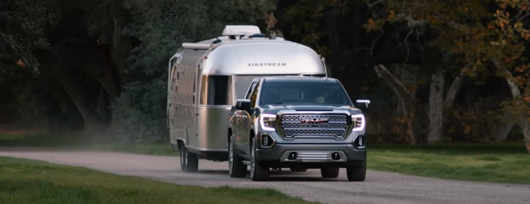 Grey GMC Sierra 1500 Towing an Airstream trailer