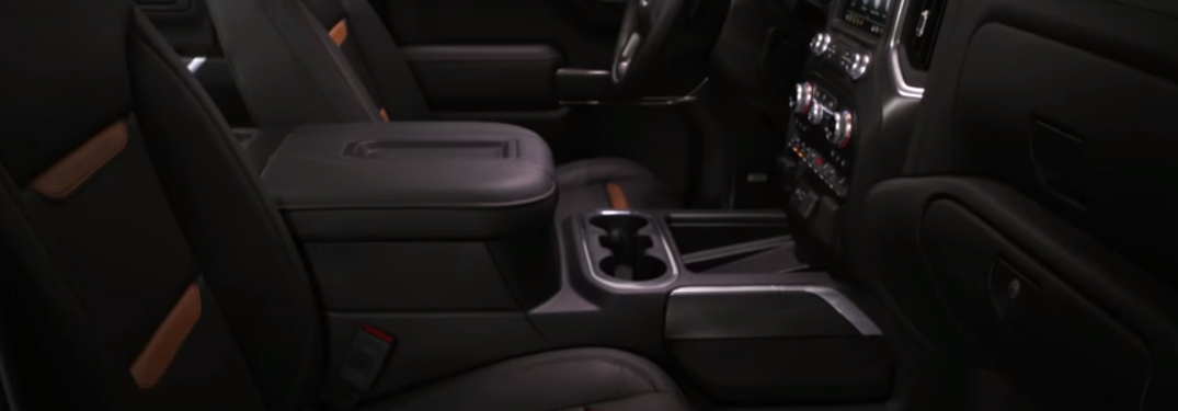 Black and brown seats in a GMC vehicle