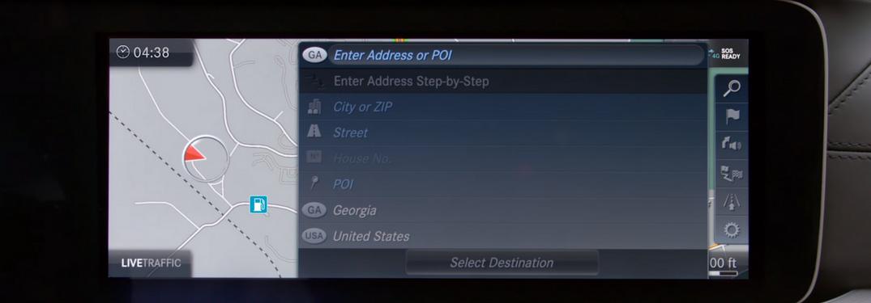 Screenshot of Mercedes-Benz navigation screen
