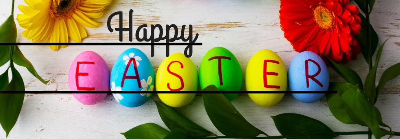 Happy EASTER written on Easter eggs