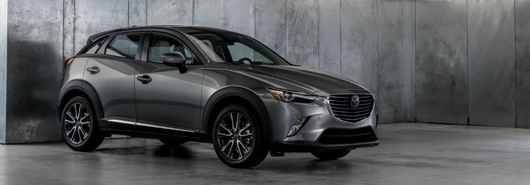 gray mazda cx-3 in garage